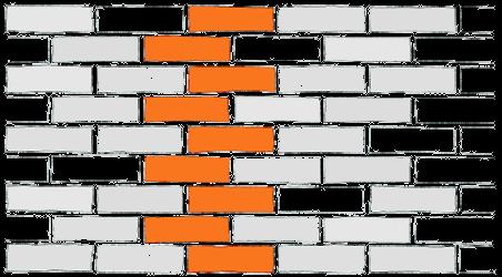 Wiązanie wozówkowe z przesunieciem o 1/2 cegły